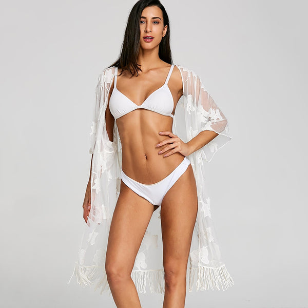 Mesh Sheer Embroidered Fringed Cover Up