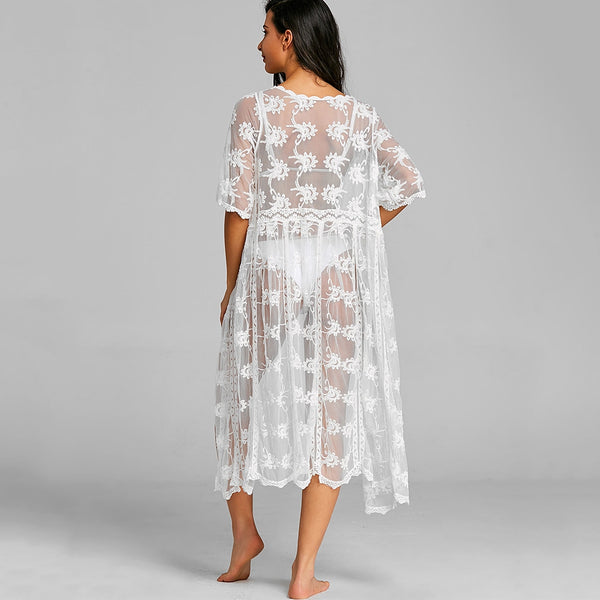 Lace Long See Thru Wrap Cover Up