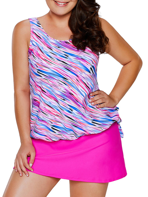 Line Print Plus Size Blouson Tankini with Skirt