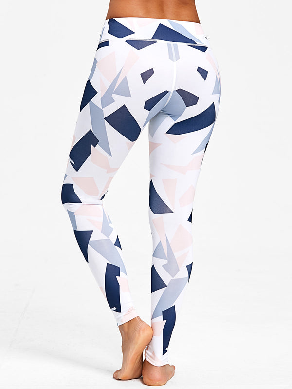 Colored Geometric Print Active Leggings