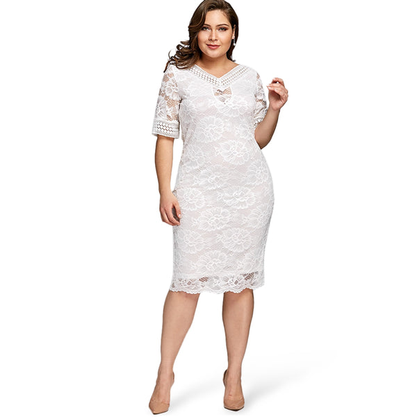Plus Size V Neck Half Sleeve Lace Dress
