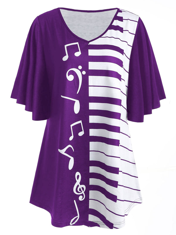 Piano Keyboard Print Plus Size Tunic T-shirt