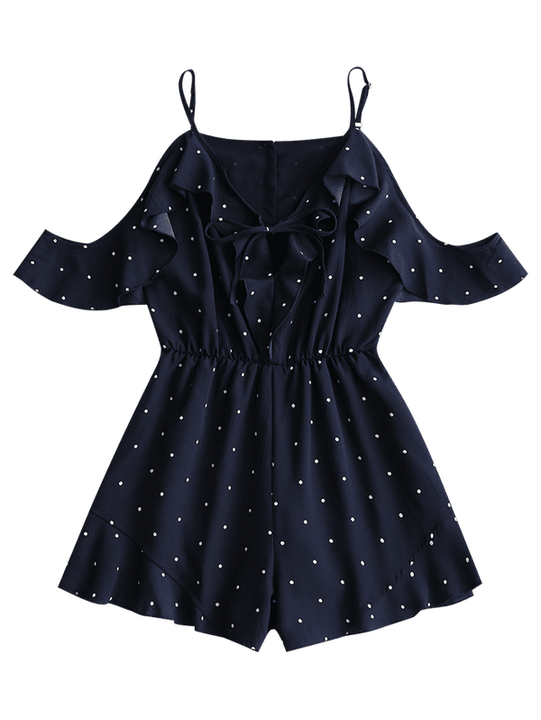 Open Shoulder Polka Dot Ruffle Romper