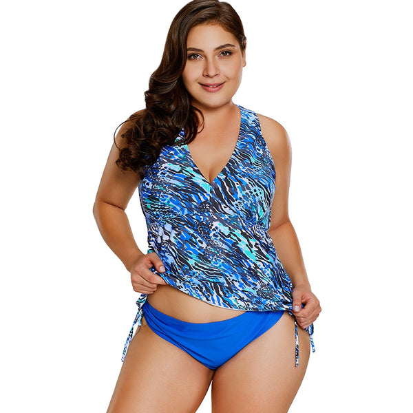 Graphic Plus Size Strappy Tankini
