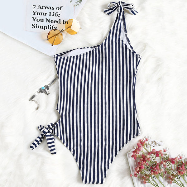 Textured Striped One Shoulder One Piece Swimsuit