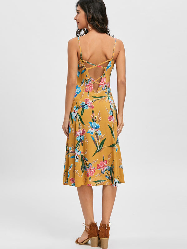 Cami Strap Backless Floral Printed Dress