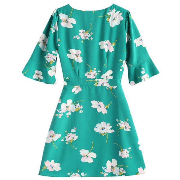 Low Cut Flare Sleeve Floral Dress