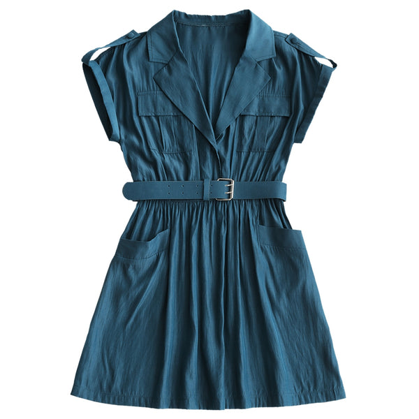 Lapel Collar Mini Belted Dress