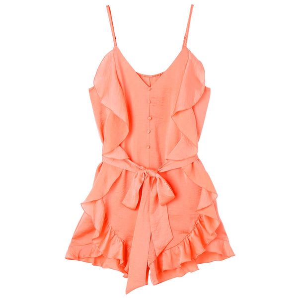 Button Up Spaghetti Strap Romper