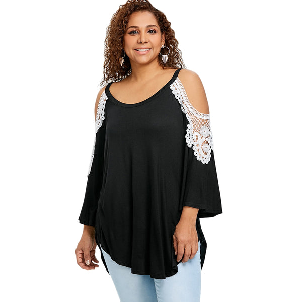 Plus Size Cold Shoulder Tunic T-shirt