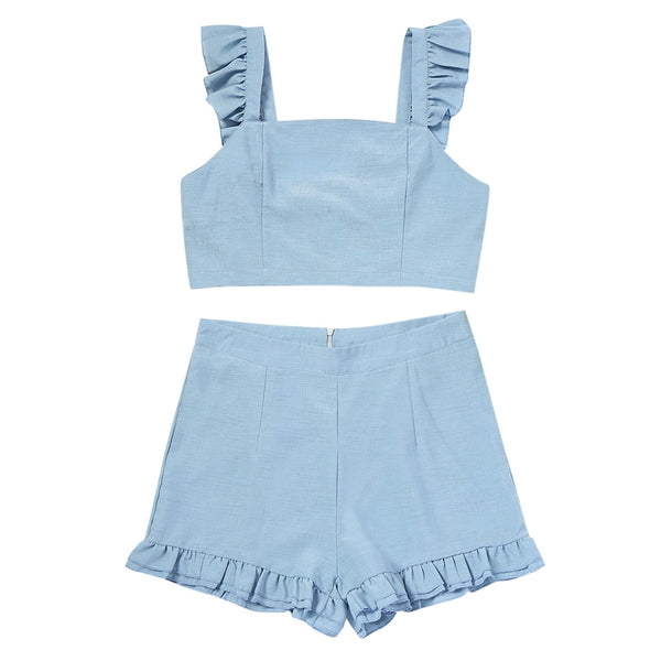 Ruffle Back Tied Top and High Waisted Shorts Set