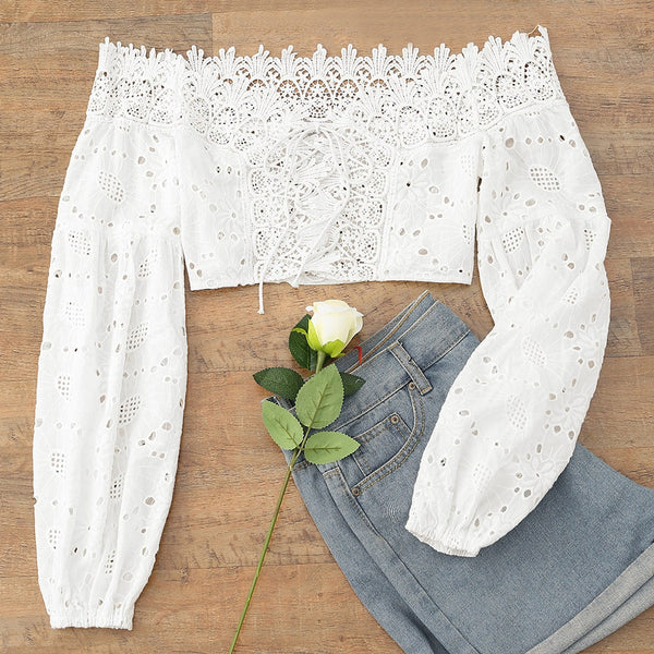 Off The Shoulder Lace-up Crop Top