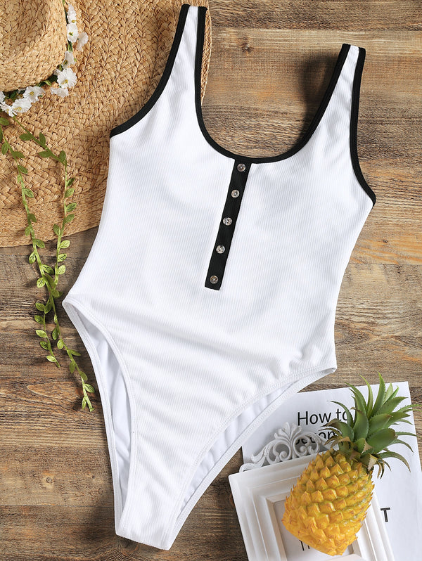 One Piece Ribbed High Leg Swimsuit