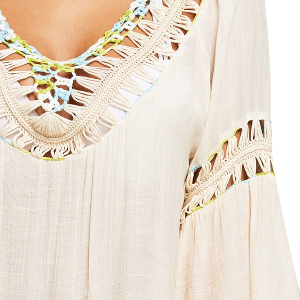 Backless Fringed Crochet Trim Cover Up