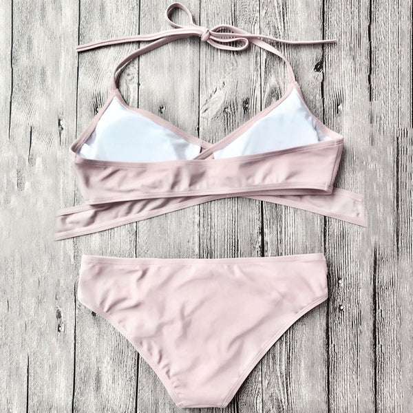 Cut Out Halter Wrap Bikini Set