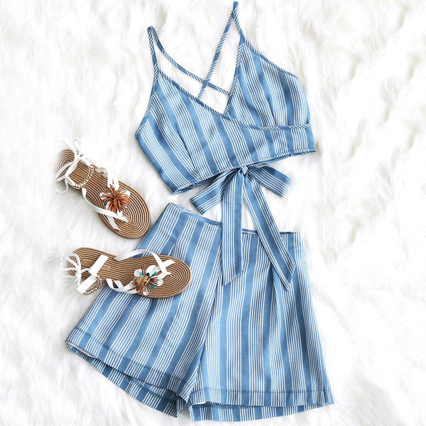 Striped Ties Top and High Waisted Shorts Set