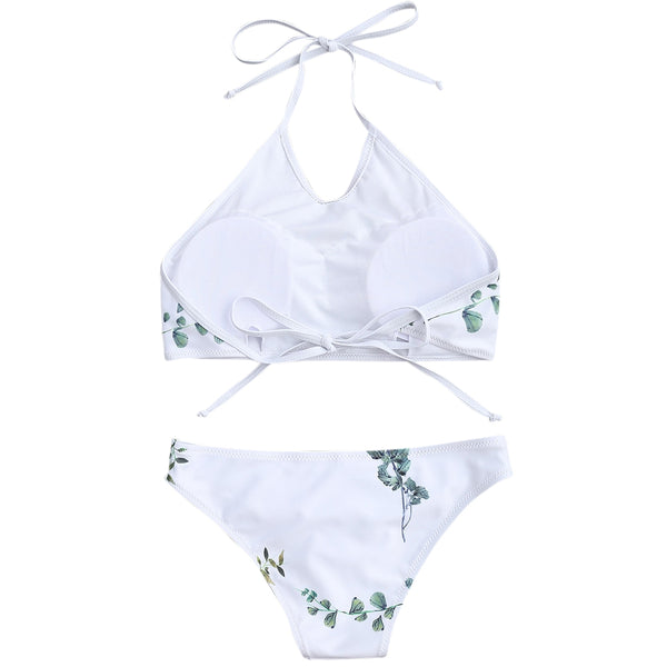 Leaf Print High Neck Bikini Set