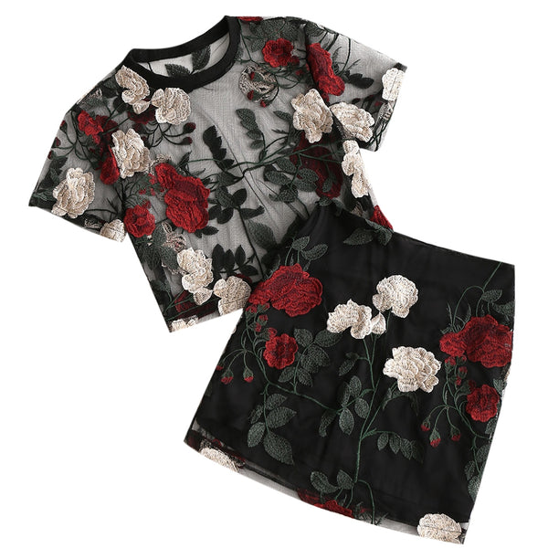 Floral Embroidered Mesh Blouse with Skirt Set