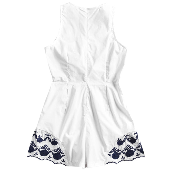 Flower Patched Sleeveless Plunge Romper