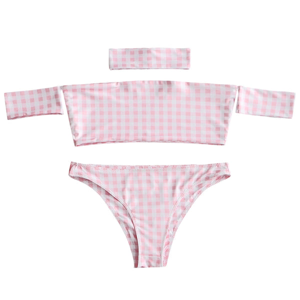 Checked Bandeau Top and Thong Costume Set