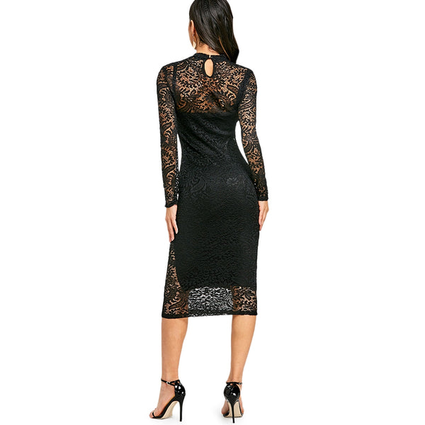 Lace Midi Party Bodycon Dress