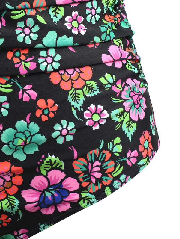 Cross Back Plus Size Floral Swimsuit