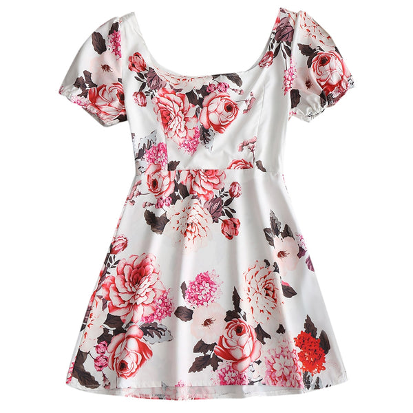 Floral Half Buttoned Flare Mini Dress