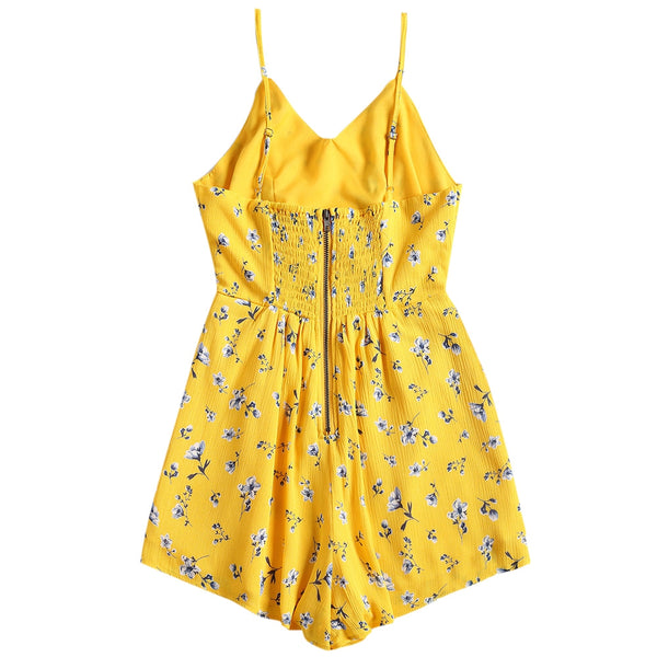 Smocked Cut Out Flower Cami Romper