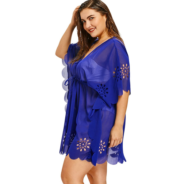 V Neck Plus Size Scalloped Cover Up