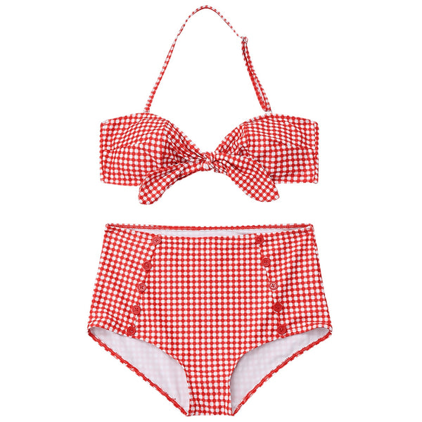 Buttons High Waisted Plaid Front Tied Bikini