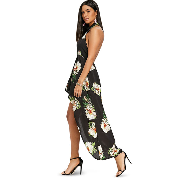 Floral Keyhole High Low Dress
