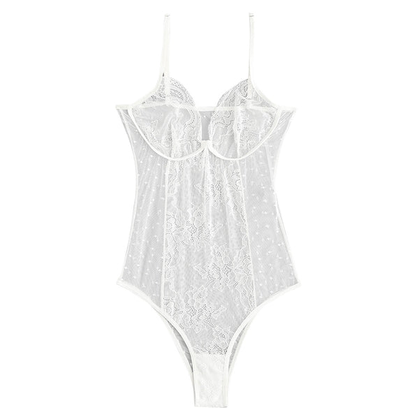 See Through Lace Lingerie Bodysuit