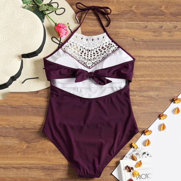Crochet Insert Back Bowtie One Piece Swimwear