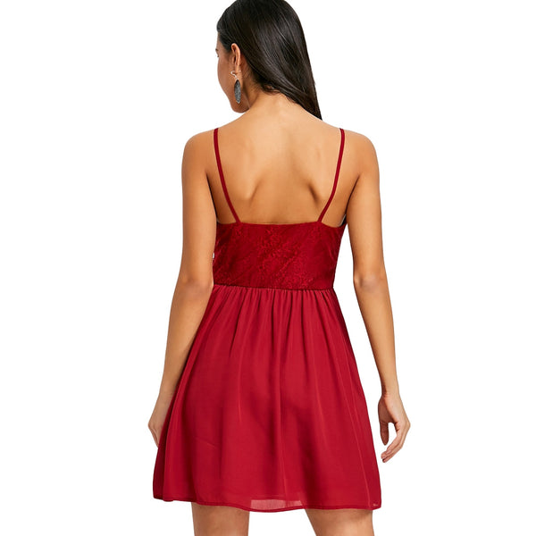 Spaghetti Strap Backless Mini Flare Dress