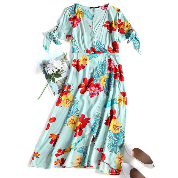 Tropical Floral Print Surplice Dress