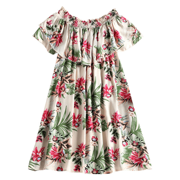Floral Ruffle Off The Shoulder Mini Dress