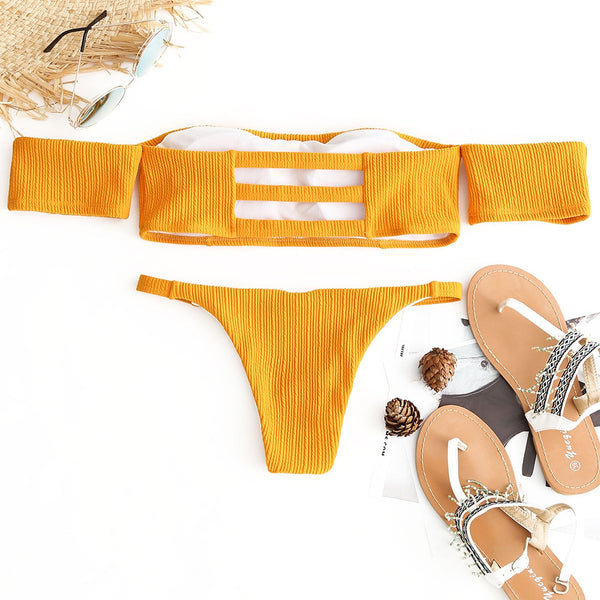 Off The Shoulder Padded Bikini Set