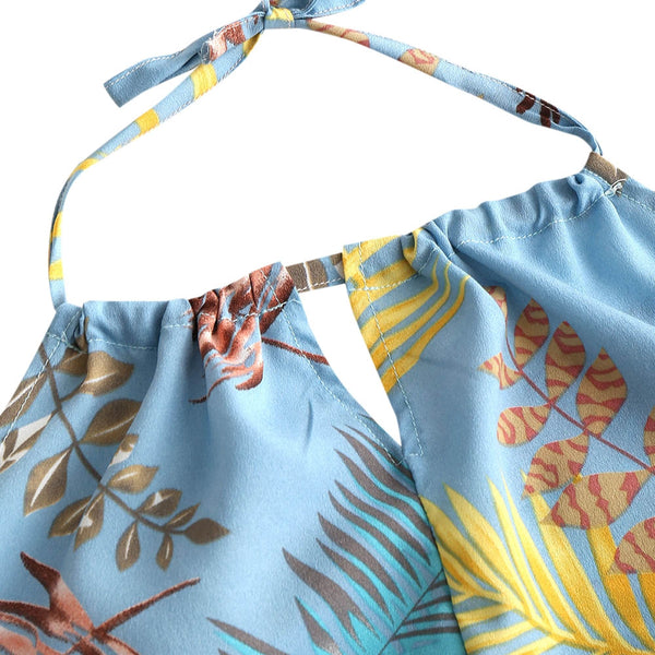 Backless Leaves Halter Top with Shorts Set