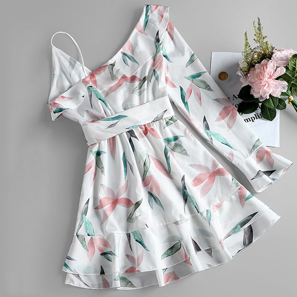 Leaf Print One Sleeve A Line Dress