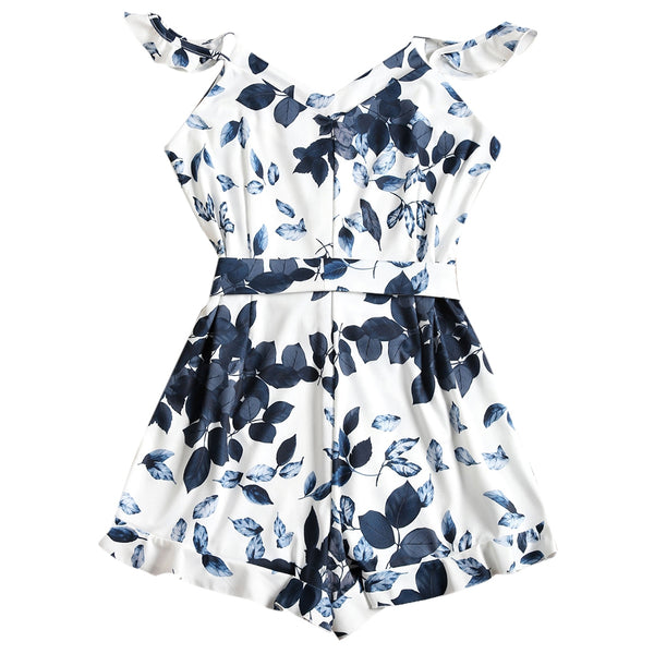 Leaves Print Ruffled Belted Cami Romper