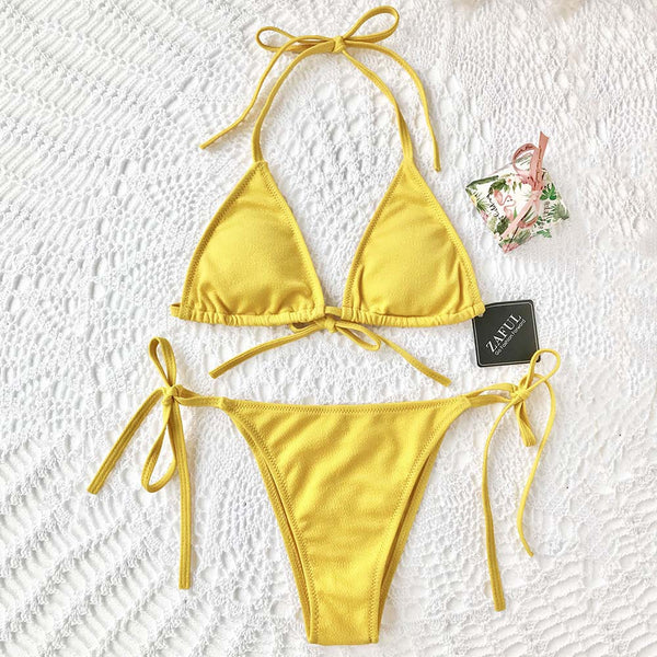 Textured Halter Bikini Set