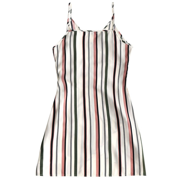 Striped Surplice Slip Dress