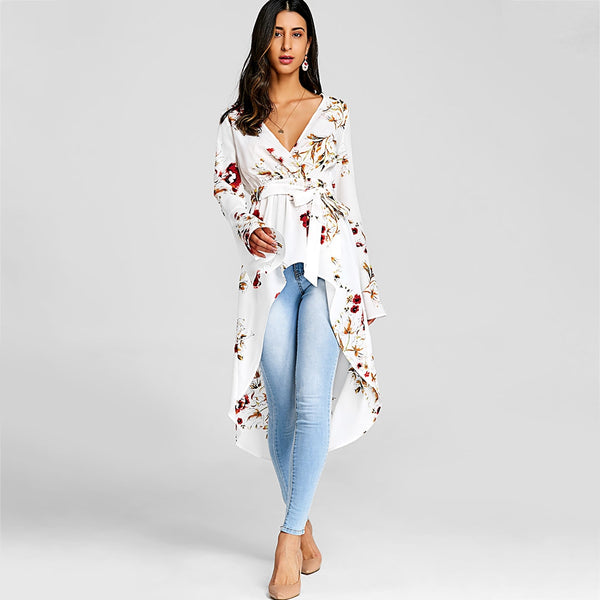 Bell Sleeve Floral High Low Fishtail Top