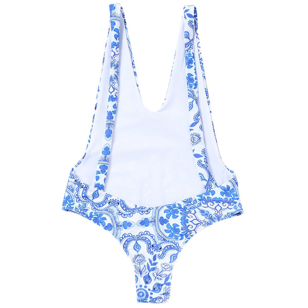 Porcelain Open Back One Piece Swimsuit
