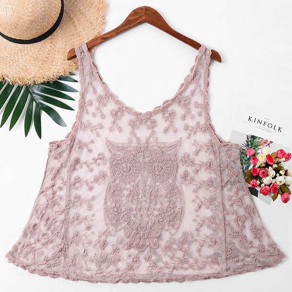 Owl Embroidery Mesh Cover Up Top