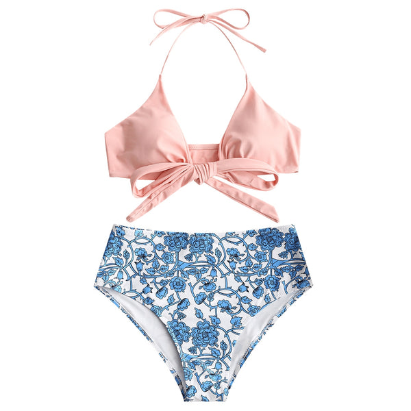 Tiny Floral Wrap Bathing Suit