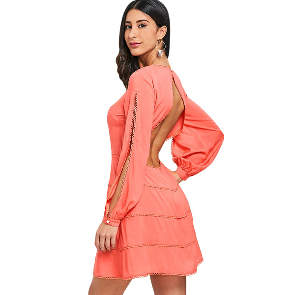 Split Sleeve Open Back Dress