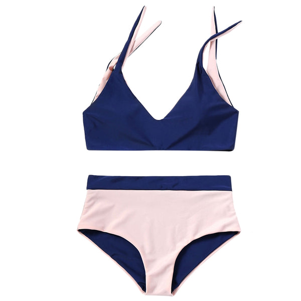 Two Tone Shoulder Tied Bikini Set