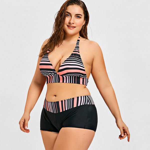 Striped Plus Size Plunge Boyshort Bikini
