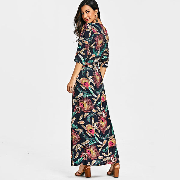 Printed Button Up Slit Maxi Dress